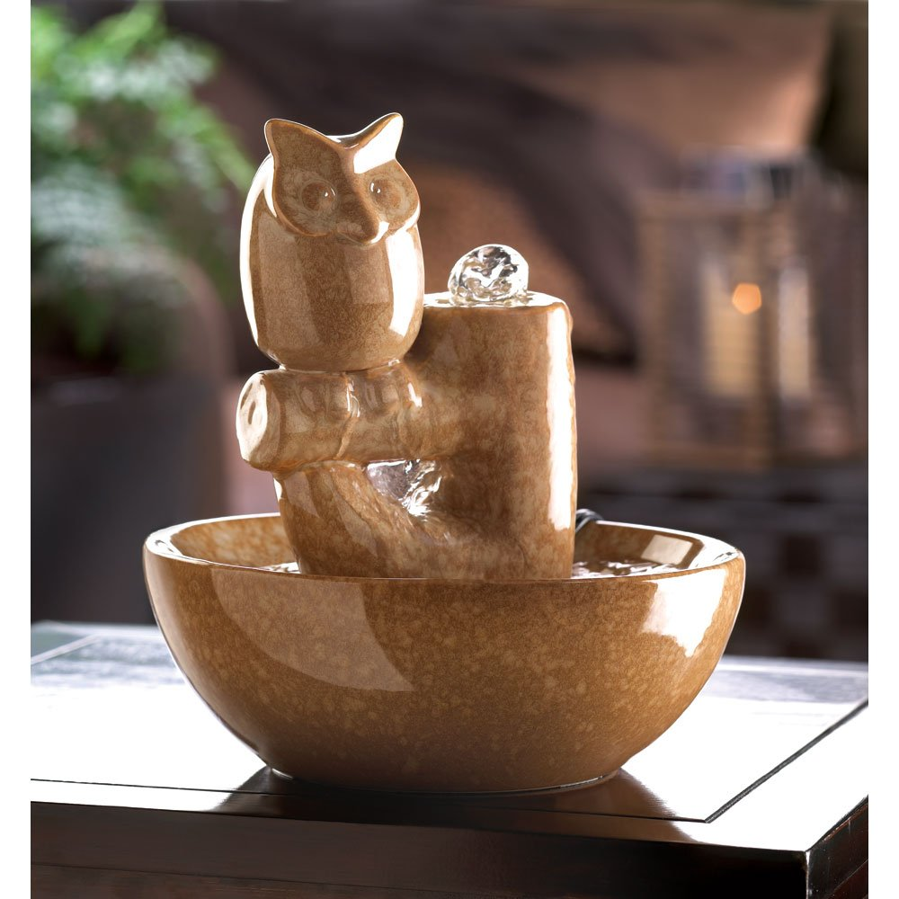 Perched owl fountain